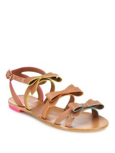 Sophia Webster - Samara Faux-Leather Bow Flat Sandals