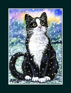 Anne Mortimer tuxedo cat - looks like my Figgy Christmas Animals, Christmas Cats, Winter Cat, Cat Quilt, White Cats, Black Cats, All About Cats, Cat Crafts, Christmas Paintings