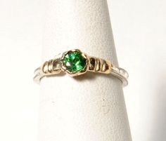 18K Gold Ring with Lab Grown Green Garnet