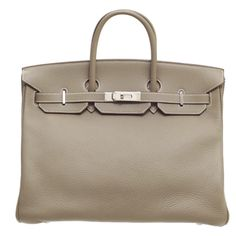 Hermes Birkin 40 Etoupe/Taupe grey Clemence leather Silver found on Polyvore