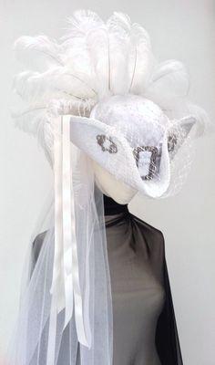 Lady Amilie White velvet wedding tricorn steampunk hat by Blackpin Steampunk Clothing, Steampunk Fashion, Mode Alternative, Victorian Hats, Pirate Wench, Steampunk Wedding, Love Hat, Hat Pins, Hat Making
