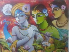 Radha Krishna Love, Radhe Krishna, Lord Krishna, Lord Shiva Painting, Krishna Painting, Figure Sketching, Paint Designs, Fabric Painting, Indian Art