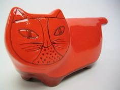 Mid century Italian Baldelli pottery kitty bank in bright red orange