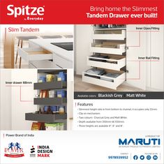 The elegant Tandem Drawer with slimmest sides for various applications by Spitze. #Spitze #spitzebyeveryday #MarutiInteriorProducts #TandemDrawer #InnerDrawerFittings #InnerGlassFitting #InnerRailFitting