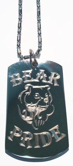 Bear Men Man Pride w/ Grizzly Bear Logo - Military Dog Tag, Luggage Tag Metal Chain Necklace ** See this great product.