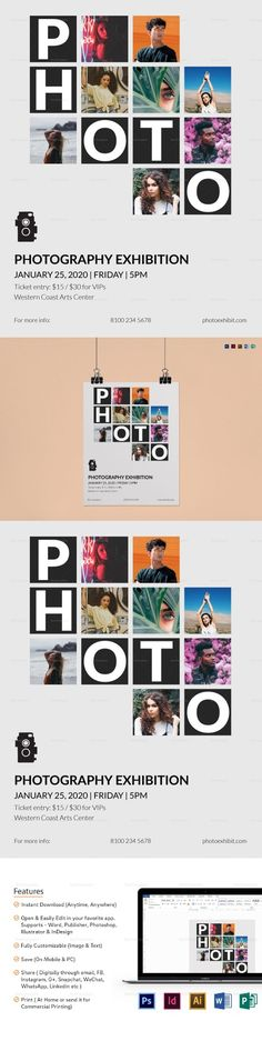 Photography Exhibition Flyer Template - Formats Included : Illustrator, InDesign, MS Word, Photoshop, Publisher - File Size : 8.5x11 Inchs