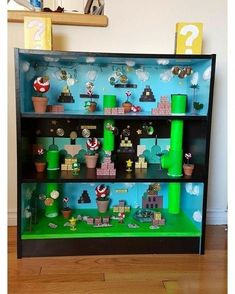 Półka do gry Super Mario – – - Decoracja Super Mario Room, Super Mario Birthday, Super Mario Party, Boy Room, Kids Room, Nintendo Room, Mario Crafts, Hama Beads Minecraft, Perler Beads
