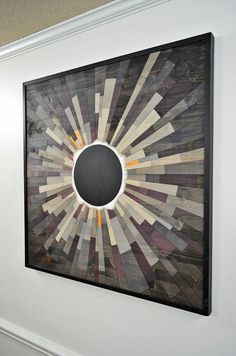 wood wall art GREY MATTER an Eclipse 36X36 by StainsAndGrains