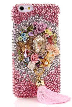 Rose Garden Personalized Monogram Design iPhone 6 Plus bling case pink glitter cool phone cover lifeproof pink for girls