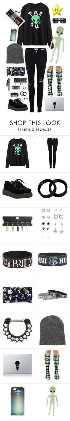 """""""alien?¿"""" by plantttboy ❤ liked on Polyvore featuring Frame, T.U.K., Disney, Vinyl Revolution, Casetify, ZeroUV, Nintendo, emo, hottopic and space"""