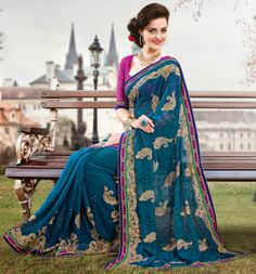Teal Blue Faux Georgette Saree