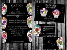 Calacas Mexican Day of the Dead Wedding Invitation, Save the Date,