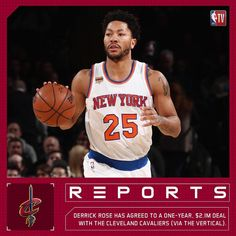 """""""REPORTS: Derrick Rose has agreed to a one-year, $2.1M deal with the Cleveland Cavaliers (via The…"""""""
