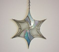"""Stained Glass Suncatcher -""""Abstract Snowflake"""" by Smash Glassworks [SOLD]"""