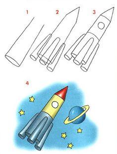 Cómo dibujar un cohete