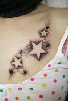 Star Tattoo On Women Chest ~ http://tattooeve.com/lets-paint-your-body-with-stars/ Tattoo Design