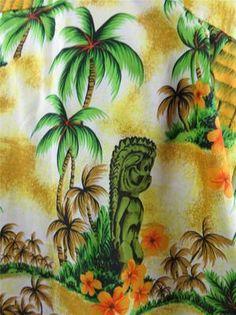 Royal Hawaiian Mens Hawaiian Camp Shirt Tiki Statue Palm Huts Vintage XXL Orange | eBay..