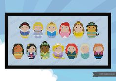 Storybook Princesses parody Cross stitch PDF por cloudsfactory
