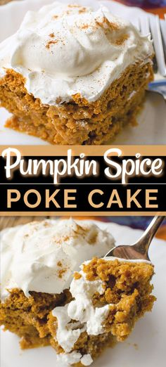 Pumpkin Spice Poke Cake PUMPKIN SPICE POKE CAKE is a simple fall poke cake recipe that combines pumpkin with cream cheese frosting. Decadent and comforting in every bite! Poke Cake Recipes, Fall Dessert Recipes, Köstliche Desserts, Delicious Desserts, Thanksgiving Desserts, Tiramisu Poke Cake Recipe, Holiday Recipes, Pumpkin Spice Cake, Pumpkin Dessert