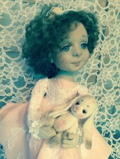 OOAK-Folk-art-girl-Doll-Sculpted-textiles