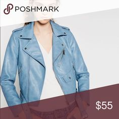 Zara Faux Leather Moto - Blue Great little jacket. Such a nice shade of blue to go with any outfit. Worn twice at most. Perfect condition.  Actual item photos will be posted tonight. Zara Jackets & Coats
