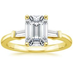 Emerald Cut Tapered Baguette Diamond Engagement Ring - 18K Yellow Gold