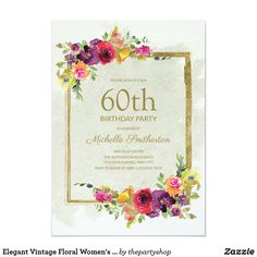 Elegant Vintage Floral Women's 60th Birthday Invitation 75th Birthday Parties, 60th Birthday Party Invitations, 90th Birthday, Vintage Floral, Elegant, 30th, Classy, Chic, Vintage Flowers