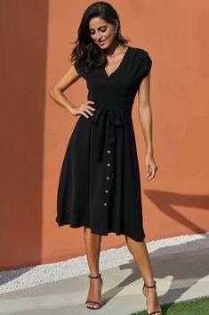 a2f8c288170 Chic V Neckline Buttons Design Black Midi Dress