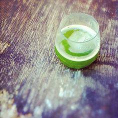 green tea smoothie with iced green sencha, kale & nasturtium leaves