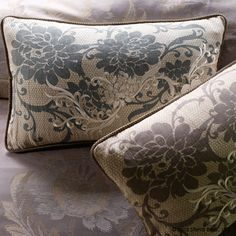 Sophisticated accent. Chantilly renders floral decoration in color and texture. Available in one size and two colors. Shown with Cora in steel.