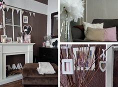sweet shabby home decor in beige-rose-white with DIY old window, paperflowers and paper-garland