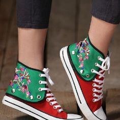 asian icandy floral embroidery canvas shoes from UsTrendy. Saved to Shoes. Chinese Embroidery, Tambour Embroidery, Floral Embroidery, Sneakers For Sale, Casual Sneakers, Dorothy Shoes, Learning To Embroider, Punk Fashion, Street Fashion