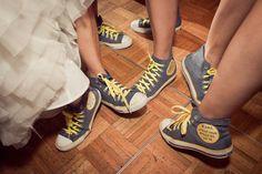 Bridesmaids wear matching converse sneakers