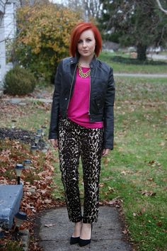 Thrift and Shout: Cute Outfit of the Day: Leopard Pants; Calvin Klein pants, Express sweater, Target necklace,Nina shoes, T.J. Maxx faux leather jacket, thrift, fashion