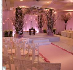 The couple married underneath a huppah made out of cherry blossom branches. Candles and pink lighting upped the romance in the space. Cherry Blossom Decor, Cherry Blossom Wedding, Cherry Blossoms, Wedding Styles, Wedding Photos, Zombie Wedding, Wedding Ceremony, Wedding Day, When I Get Married
