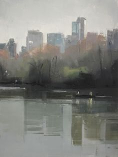 painting Central Park Lake 4