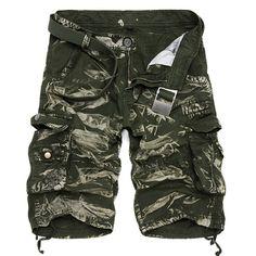 Summer Mens Cotton Cargo Shorts Casual Multi Pocket Shorts Pure Color Cargos Shorts at Banggood