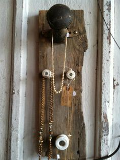 Old saddle horn and insulators, upcycled for jewelry holder