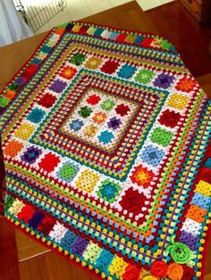 Love hte colours for temp blanket? Random Rainbow Blanket – Handmade In Marbellabest ideas about Crochet blanketsLove the idea of granny squares and stripes together.my first post - afghan this FREE Crochet Blanket Patterns for you to try. Crochet Afgans, Crochet Quilt, Crochet Blocks, Afghan Crochet Patterns, Crochet Squares, Crochet Granny, Crochet Motif, Baby Blanket Crochet, Knitting Patterns