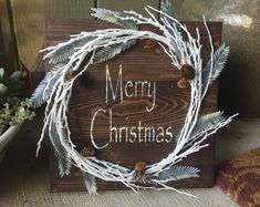 Rustic Christmas Wood Pallet Sign w/ white garland and pine cones, Merry Christmas stencil, Christmas decor, Christmas decoration
