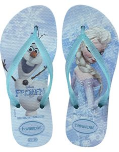 The Slim Frozen transports your little girl into the fun fantasy world of Elsa, Anna and Olaf from Disney�s award-winning movie Frozen. They�re printed on our signature textured footbed, with a Havaianas logo on the slim strap finishing the fairytale look. Thong style Cushioned footbed with textured rice pattern and rubber flip flop sole Made in Brazil