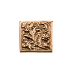 """4"""" Solid Copper Wall Tile with Floral Design - Polished Copper by Whittington Collection. $10.95. Create a unique and customized space with this 4 copper wall tile. It features an elegant floral design and is handcrafted from solid copper. Available in your choice of finish. Handcrafted from solid copper. Shown in Dark Antique Copper with Highlights. Measures 4-1/4 L x 4-1/4 W. Tile is 1/4 thick."""