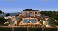 Large Suburb Minecraft House With Patio and Pool Minecraft Mods, Minecraft Villa, Modern Minecraft Houses, Minecraft Mansion, Minecraft House Tutorials, Minecraft Plans, Minecraft Houses Blueprints, Minecraft House Designs, Minecraft Architecture