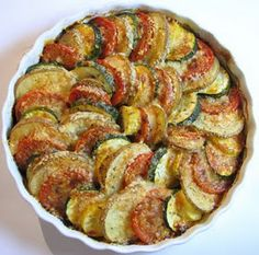 From For The Love of Cooking, vegetable tian (layered, baked vegetable dish)  with potatoes, zucchini, tomatoes, yellow squash.