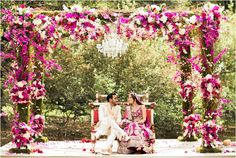 Gorgeous purple and white Moroccan theme outdoor mandap ~ Photos: J'Adore Love Photography ~ Venue: Houstonian Hotel Club & Spa