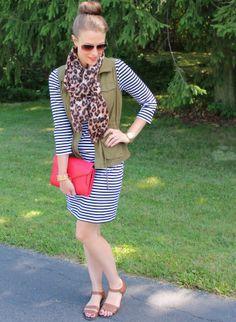 striped dress, vest, scarf, sandals