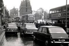 Traffic in Knightsbridge, 1960s.
