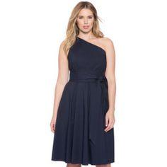 ELOQUII Plus Size One Shoulder Tie Waist Dress