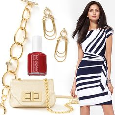 "Dress, jewels and bag by Caché. Nail polish by Essie in ""Really Red"" #HeadToToeThursday"