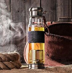 Owl Creek Premium Glass Bottle Tea and Fruit Infuser with Stylish Denim Koozie and Faux Leather Strap (14oz)